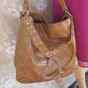 Large XOXO Boho Shoulder Bag Heart & Stud Detail